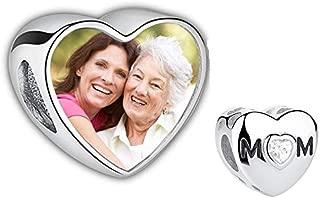 Foto Personalizada encantos del Colgante del corazón con Cuentas grabadas de Plata esterlina 925 para Madre Padre Regalo Familiar para Navidad cumpleaños Aniversario