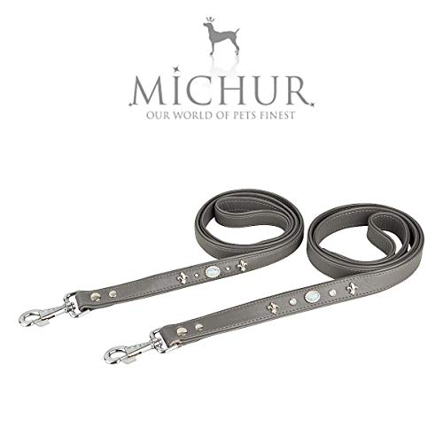 MICHUR Tipico riem, hondenleider, lederen hondenriem, passend bij de tipico, grijs, LEATHER, met lelies, strass steentjes en grote Michur steen, Size (approx.) 47,24 x 0,98