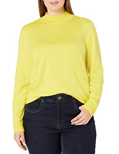 Amazon Essentials Women's Plus-Size Classic-Fit Lightweight Long-Sleeve Mockneck Sweater, Bright Yellow, 5X