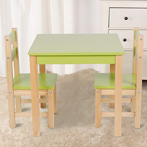 Wakects Juego de Mesa y Silla de Madera para niños, Mesa Moderna con 2 sillas de Madera Grupo de Asientos para Muebles de Sala de Estudio para niños en el hogar