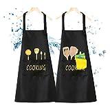 Grembiule da Cucina, Donna Uomo Grembiule da Cucina con Archetto da Collo Regolabile per Cucina in Famiglia, Barbecue, Giardino, Ristorante, Caffetteria 2 Pezzi (Grembiule Impermeabile)