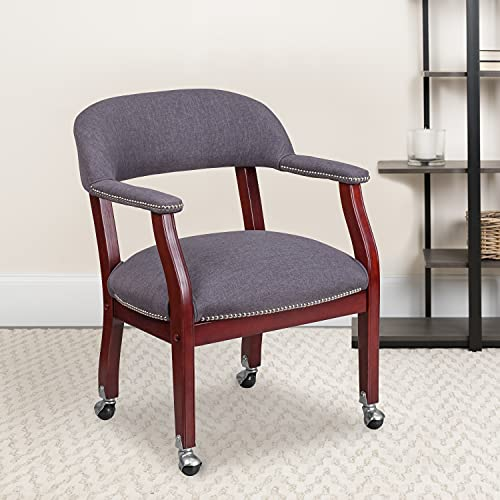 Flash Furniture Gray Fabric Luxurious Conference Chair with Accent Nail Trim and Casters