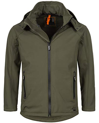 A. Salvarini Herren Softshell Funktions Outdoor Regen Jacke Sport Freizeitjacke AS098 (Gr.XL, Olive)