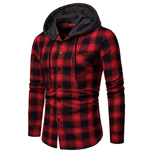 BEIXUNDIANZI Herren Kapuzenpullover Hoodie Pullover Mit Kapuze Und Fleece-Innenseite Red L