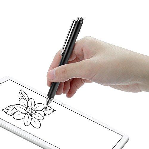 『Coziwo タッチペン 極細 2in1 スタイラスペン 1本+交換用ペン先3個 スマートフォン ipad タブレット iphone android スマホ 対応 イラスト ツムツム ゲーム 絵描き用(ブラック)』の2枚目の画像