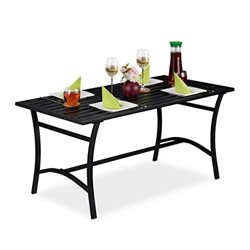Relaxdays Gartentisch rechteckig, Garten, Terrasse & Balkon, robust & stabil, Metalltisch, HBT: 55,5x120x60 cm, schwarz
