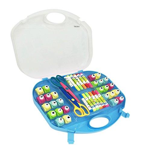 EXERZ Set de arte y manualidades/Perforadores/Tijeras para manualidades/Marcadores de colores – 40 piezas en un estuche de almacenamiento (Azul)