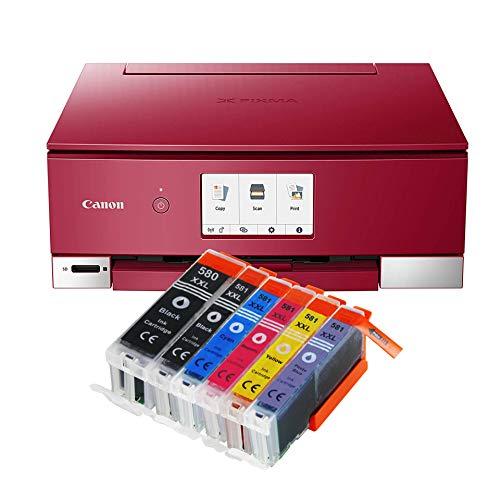 Canon Pixma TS8252 TS-8252 - Impresora multifunción (impresora, escáner, fotocopiadora, impresión de CD, USB, WLAN, LAN, Apple AirPrint, tarjeta SD, 6 unidades IC-Office 580XXL 581XXL), color negro