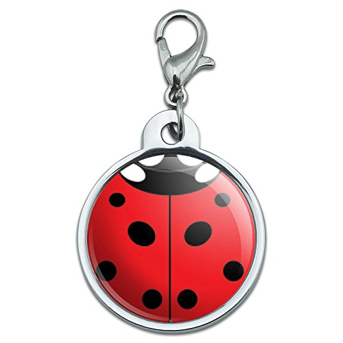 Graphics and More Chrome Plated Metal Small Pet ID Dog Cat Tag Insects Ladybug Butterfly Dragonfly - Lady Bug Ladybug Insect