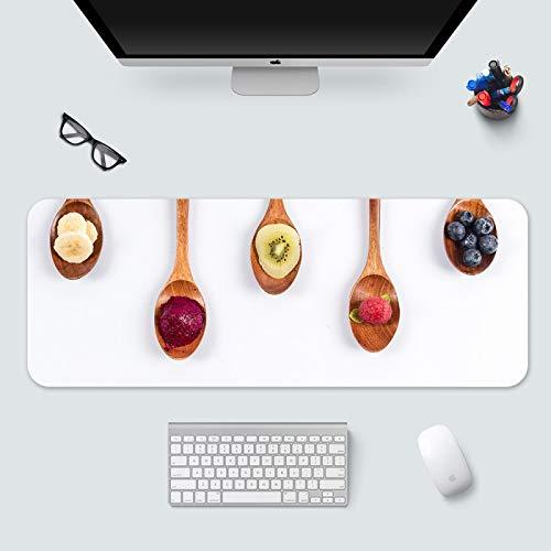 alfombrilla de ratón infantil Alfombrilla de Ratón Grande Gaming Mouse Pad XXL 700x300x3mm Cuchara de madera de fruta creativa blanca Lavable, Bordes cosidos Resistente al Agua y Antideslizante Base d