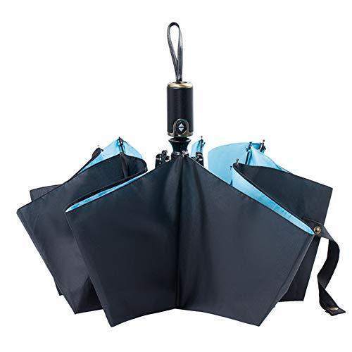 EFKKLM Pluie Parapluie Femmes Qualité Coupe-Vent Trois Parapluies Pliants Entièrement Automatique 8K