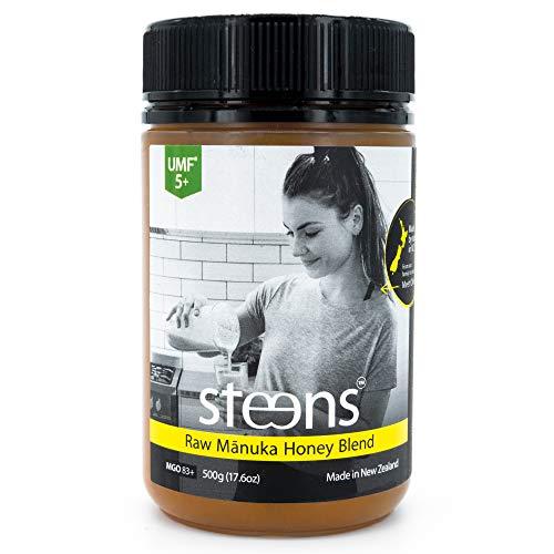 Steens Roher Manuka-Honig MGO 83 (UMF 5) 500 G | Purer Roher, Kalt Verarbeiteter, Nicht Pasteurisierter Honig Aus NZ | Natürliche Heileigenschaften Bei Halsschmerzen Und Zum Aufbau Des Immunsystems