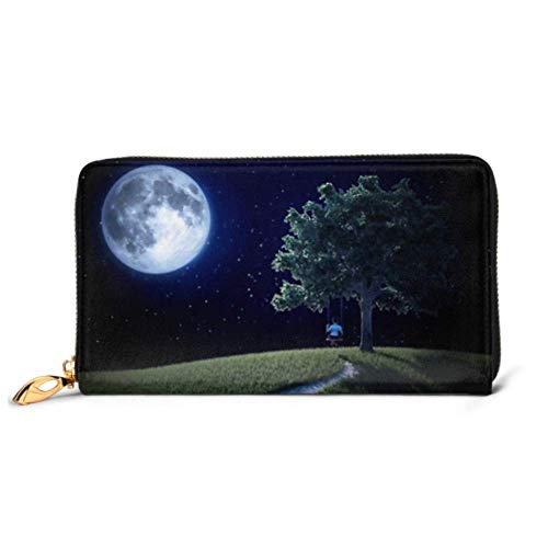 JHGFG Mode Handtasche Reißverschluss Brieftasche Kleiner Junge Auf Schaukel Schauen Mond Telefon Kupplung Geldbörse Abendkupplung Blockieren Leder Brieftasche Multi Card Organizer