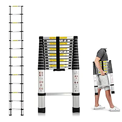 Telescopic Ladder 10.5FT Aluminum Extension Ladder Telescoping 3.2M Safe Lightweight Non-Slip Steps Multi-Purpose Portable Adjustable Height Folding EN131 Standard for Indoor Outdoor Work 330lb Load