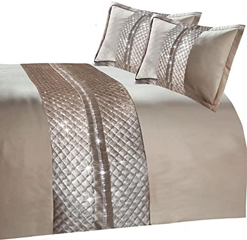 Olivia Rocco Kylie Bettbezug-Set, gesteppt, Samt, mit Strasssteinen, luxuriöse Bettwäsche-Sets, Champagner-Tagesdecke