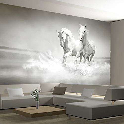 Fotobehang, behang, aangepaste 3D Running White Horse Fotobehang, slaapkamer, woonkamer, kantoor, achtergrond vliesbehang 200x140cm