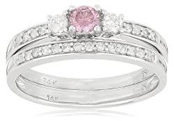 14k Whit Gold Pink and White Diamond Bridal Set Ring