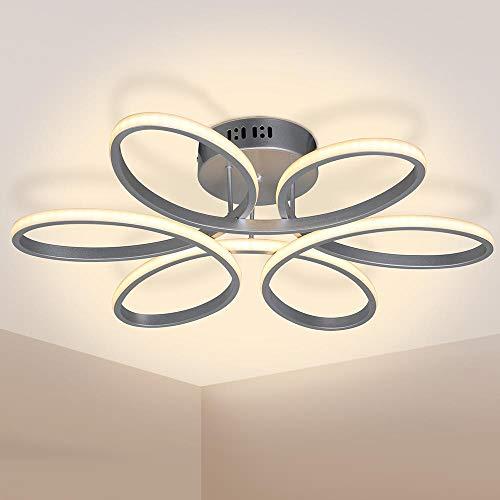 Bakaji Lampadario Plafoniera LED Forma Fiore in Metallo Satinato Luce 2580Lm Bianco Caldo 3000K 48W Risparmio Energetico Lampada Soffitto Design Moderno Dimensione 60 x 14 cm