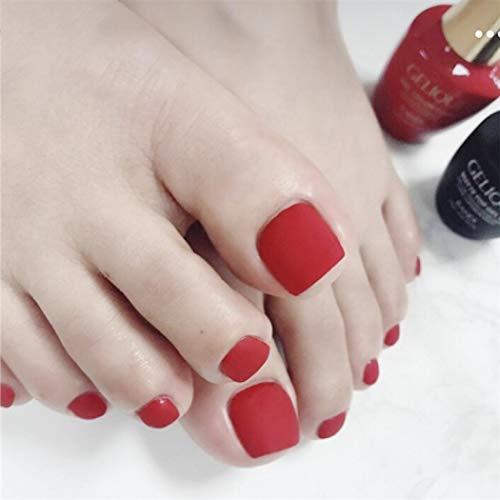TseenYi Ongles faux orteils Rouge vif mat faux ongles de pied couleur unie mode carré court couverture complète Faux ongles pour femmes et filles (24 pièces)