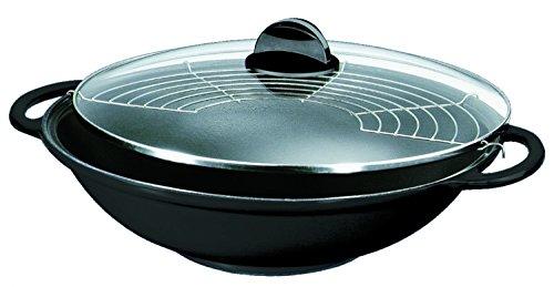 Silit Tao Set wok in ghisa, diametro: 30 cm, con coperchio in vetro, griglia per cottura a vapore, pinza in legno e bacchette, colore: Nero