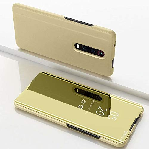 Liluyao Funda telefónica para Xiaomi Espejo galvanoplástico con Tapa Horizontal for Xiaomi Mi 9T / 9T Pro con Soporte (Color : Gold)