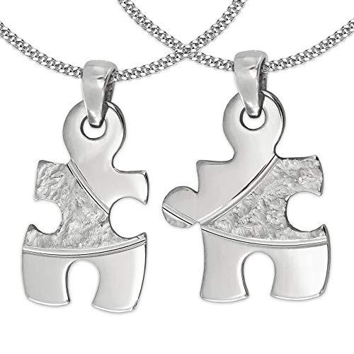 Clever Schmuck Set 2 Silberne jugendliche Freundschaftsanhänger Puzzle 19 mm geteilt mit Struktur, Bögen diamantiert, teils glänzend mit 2 Ketten Panzer je 45 cm...