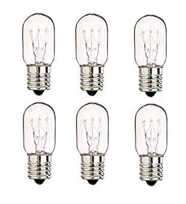 """6 Pack 40 Watts Microwave Replacement Bulb for Ge and Whirlpool oven, 40T8 E17 Base Appliance Light Bulb MOL 2.5 """""""