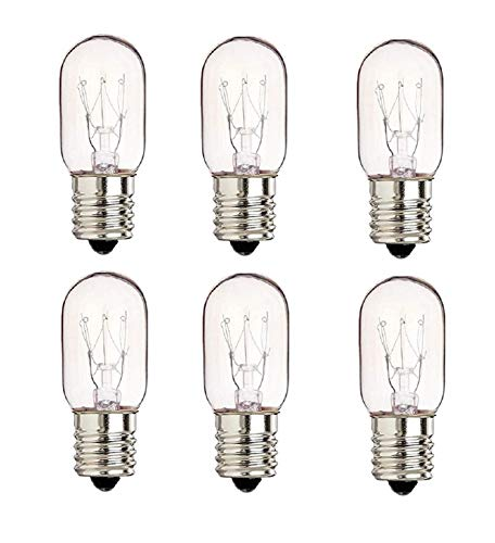 6 Pack 40 Watts Microwave Replacement Bulbs for Most Ge Ovens Replaces Part WB36X10003  40T8 Fits Intermediate E17 Base for Appliance Light Bulb MOL 2.5