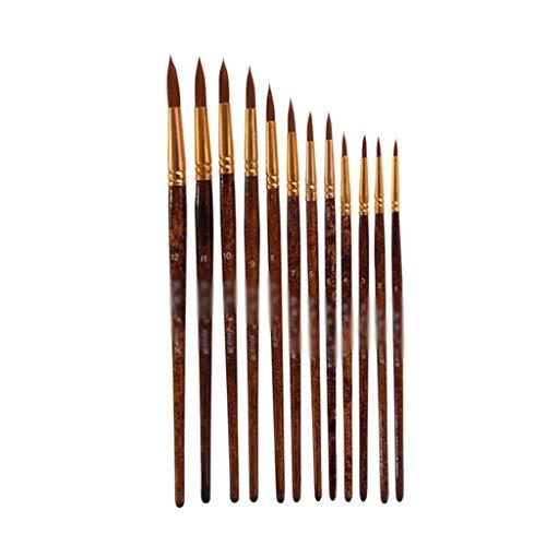 GYZX Aquarellstift Modell Paint Nylon Haar von Nummer 12 Stück Aquarellbürste Set Handwerkskunst Liefert Pen Pinsel Künstler (Color : B)