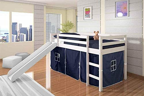 Donco Kids Mission Low Slide Loft Bed White/Twin/Blue Tent