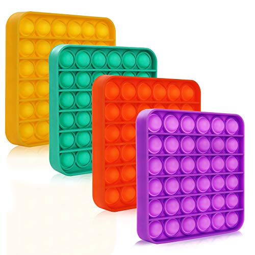 4Pcs Push Pop Bubble Fidget Sensory Toy, Autism Special Needs Silicone Squeeze Sensory Toy, Great Fidget Toy Sensory Toys Novelty Gifts for Kids, Adult Stress Reliever Anxiety Relief (Square-4pack)