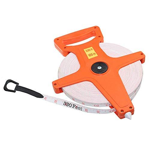 Katzco Open Reel Measuring Tape - 300 Foot Reel Fiberglass Tape Measure - Retractable Blade for Carpenter, Construction, Workshop, Building, Projects, Crafts, Handyman, Landscaping, and Hardware