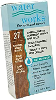 NEW Water Works Permanent Powder Hair Color #27 Natural Light Brown For Men and Women specially formulated to cover gray 0.21 oz