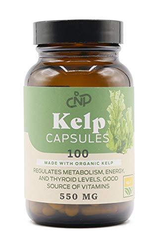 Raw Sea Kelp Powder Supplement - 550mg Capsules 100 Pills Powdered Raw Seaweed & Thyroid Support Supplement