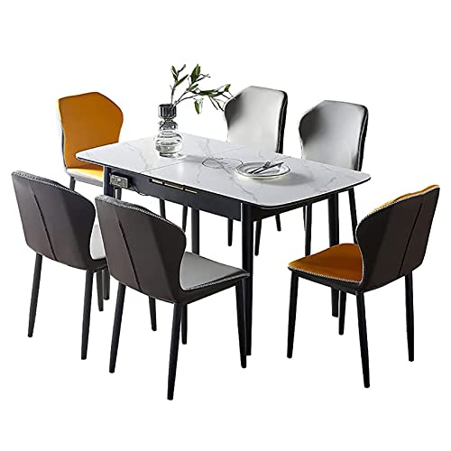 ERSHY Expandable Dining Table for 2 To 6 with Solid Wood Frame And Thick Board, Rectangular Wood Dining Room Table with Induction Cooker (Not Included Chair)