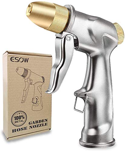 ESOW Garden Hose Nozzle, 100% Heavy Duty Metal Spray Gun with Full Brass Nozzle,...