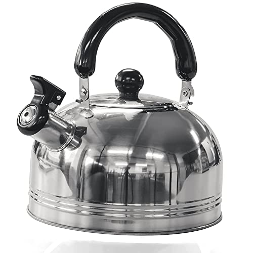 Green Haven Camping Whistling Kettle in 2L | Camping Kettle for Gas Stove, Electric Stove, Camp Fire | Portable Travel Teapot Coffee Mug with Folding Safe Handle & Spout | Strong Steel Boiling Pot
