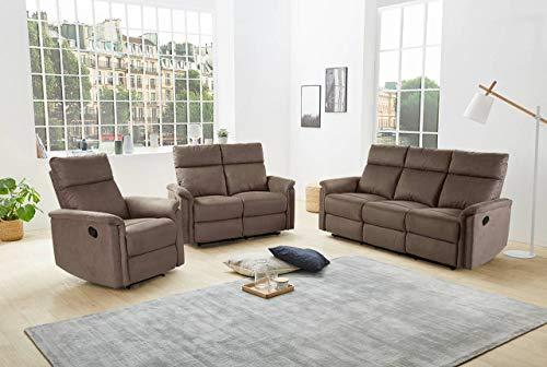 lifestyle4living Couchgarnitur in Brau, Microfaser-Stoff | Polstergarnitur mit Relaxfunktion, Garnitur bestehend aus Relax-Sessel, 2-Sitzer und 3-Sitzer Relax-Sofa