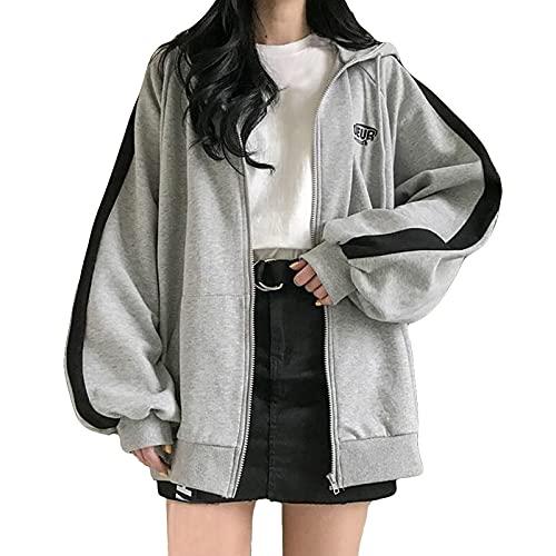 Sudadera con capucha de gran tamaño para mujer, color sólido, empalme, cárdigan de manga larga, con cremallera, con bolsillos, gris, XXL