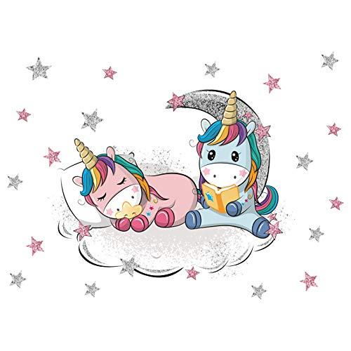 Kibi - Pegatinas de pared con unicornio, unicornio, arcoíris y unicornio, pegatinas de pared para dormitorio de niña o dormitorio infantil
