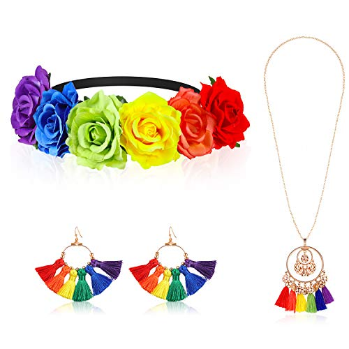 Rainbow Floral Flower Crown Headband Hawaiian Stretch Hippie Rose Headpiece with Colorful Tassel Earrings and Necklace for Women Festivals Garland Party Holiday Accessories