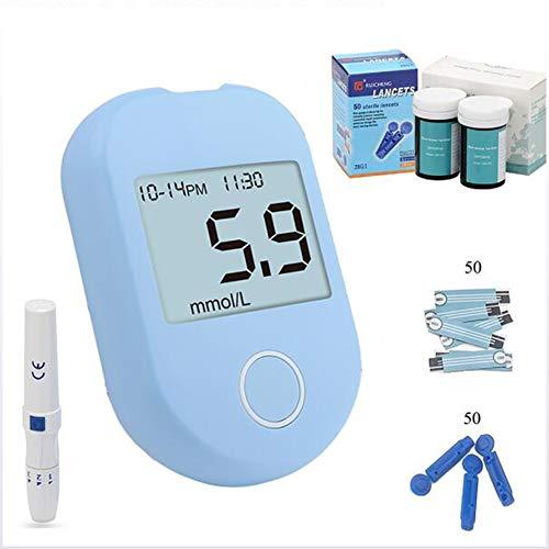 LLQ Blutzuckermessgerät Set, (Keine Codierung erforderlich), Diabetes-Monitor, Großbild-Anzeigewert, 50 Teststreifen, 50 Nadeln, Blau