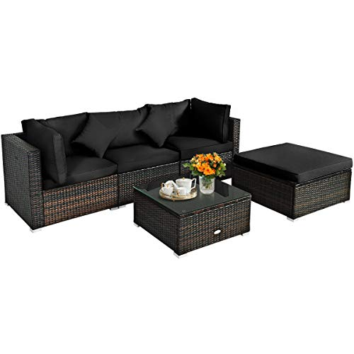 HAPPYGRILL 5-Pieces Patio Conversation Set Outdoor Rattan Wicker Furniture Set, Sectional Sofa Ottoman Set with Tempered Glass Table, Cushion, Pillow for Garden Lawn Balcony Backyard