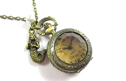 schmuck-stadt Meerjungfrau Kettenuhr 80 cm Bronze-Farben maritim Nixen Uhr