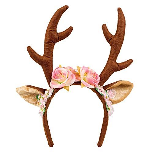 Amakando Niedlicher Geweih-Haarreifen mit Blüten/Braun-Rosa/Blüten-Haarschmuck Rentier/EIN Blickfang zu Karneval & Mottoparty