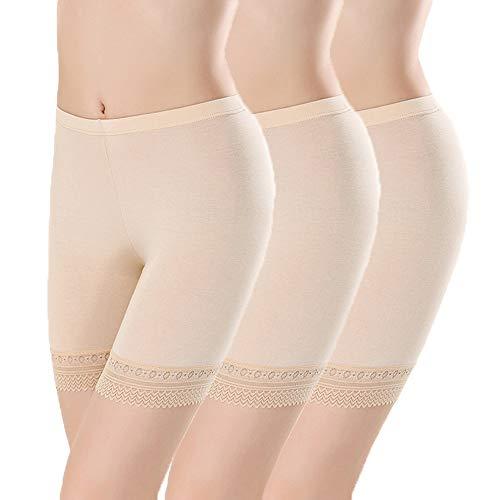 L&K-II 3er Pack Damen Panties mit Spitze 3414 M/L Hautfarben