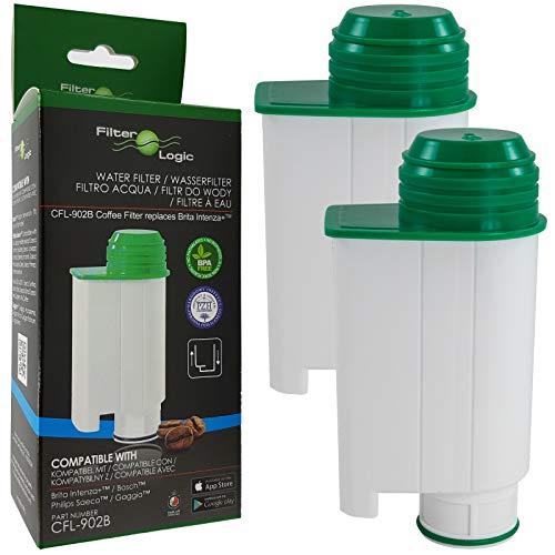 FilterLogic CFL-902B | Paquete de 2 - Filtro de agua compatible con Saeco Gaggia Philips CA6702/10 CA6702/00 CA6702 RI9113/60 Brita Intenza+ Cartucho filtrante para Máquina Cafetera de café y espresso