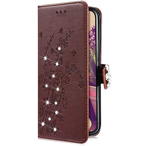 Uposao Kompatibel mit Samsung Galaxy S10 Plus Handytasche Handy Hülle Schmetterling Blumen Bling Glitzer Diamant Muster Klapphülle Flip Case Cover Schutzhülle Brieftasche Leder Tasche,Braun
