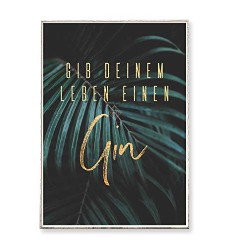 DIN A4 Kunstdruck Poster GIN -ungerahmt- Typografie, tropisch, Natur, Palme, Pflanze, Blatt