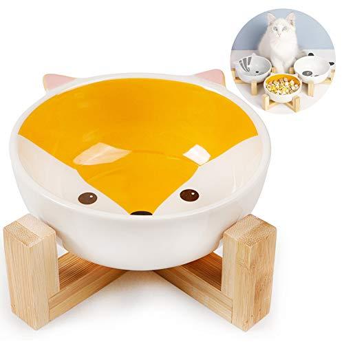 Keramik Fressnapf Set, Keramik Hundenapf,Futternapf Katze mit Bambus Halter,Fressnapf für Hund Katzen mit Ständer,Futterstation Keramiknapf für Katzen Hunde,Futterbar mit Holz Halterung (Fuchs)